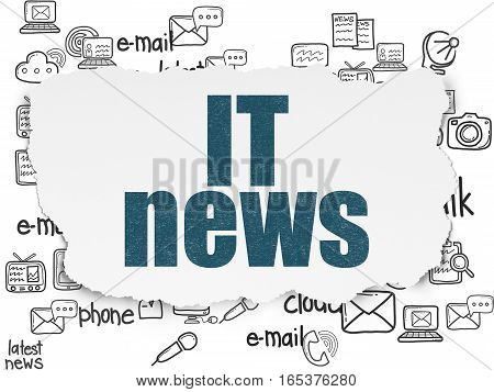 News concept: Painted blue text IT News on Torn Paper background with  Hand Drawn News Icons