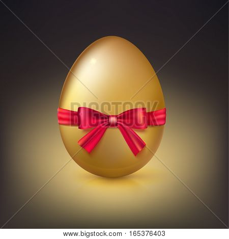 Golden egg, Realistic Ester egg with red ribbon and bow vector illustration. Party invitation template on dark background.