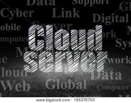 Cloud technology concept: Glowing text Cloud Server in grunge dark room with Dirty Floor, black background with  Tag Cloud