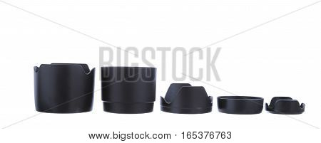 Five Lens Hood isolated on wite background