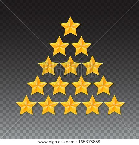 Set of rating stars. Gold, metal five-pointed stars in the shape of a Christmas tree. isolated on transparent background