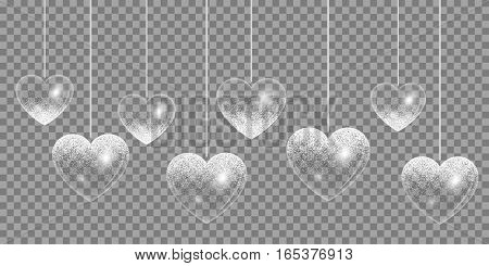 Shining heart with silver glitter on a transparent background for design valentines