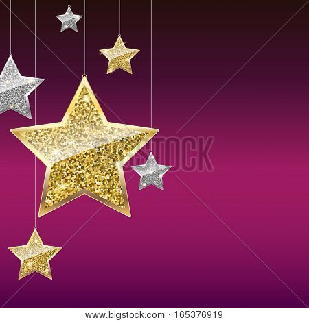 Glitter background with silver and gold hanging stars. Merry Christmas, Happy New Year greeting card on color background. Template for vip banners or card, exclusive certificate, luxury voucher