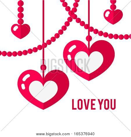 Happy valentines day card with red flat pair of hearts isolated on white background. Art vector illustration.