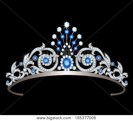 Vintage silver diadem decorated with diamonds and sapphires