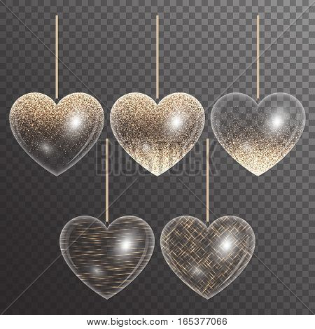 Set hearts with light effects and golden highlights for wedding design on a transparent background