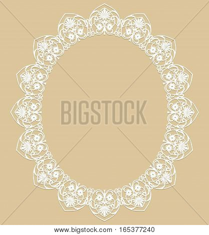 White oval frame on a beige background