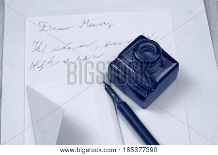 Love letter and ink - fountain pen - letter