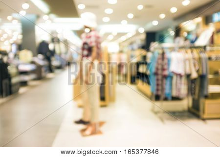Blurred Store Of Fashion Mall With Bokeh In Shopping Center