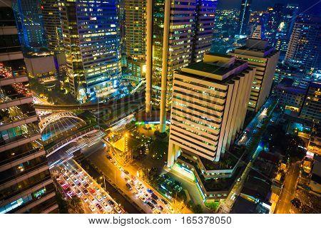 Night scene of modern city skyscraper Bangkok thailand
