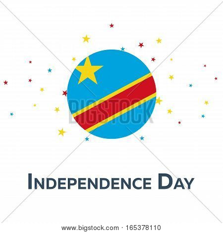 Independence Day Of Democratic Republic Of The Congo. Patriotic Banner.