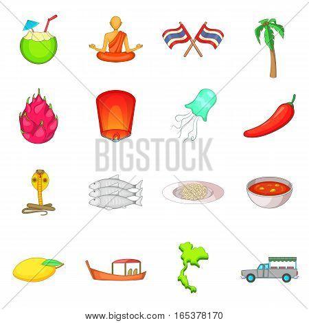 Thailand symbols icons set. Cartoon illustration of 16 Thailand symbols vector icons for web