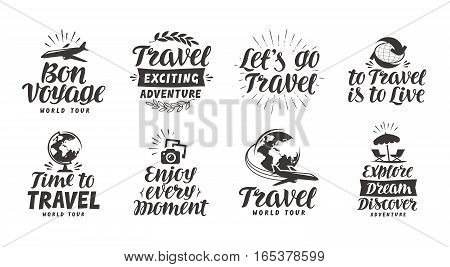 Travel, adventure set icons. Handwritten lettering. Label vector illustration isolated on white background
