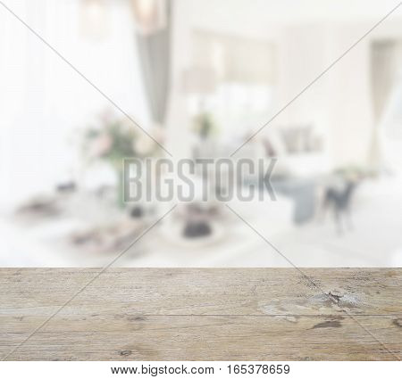 Wooden Table Top With Blur Of