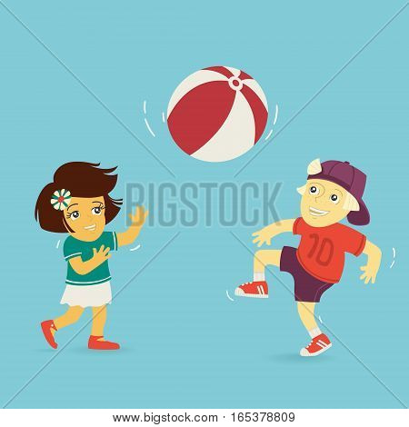 Boy and Girl Playing Ball Vector Illustration