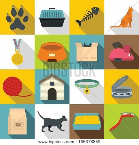 Cat care tools icons set. Flat illustration of 16 cat care tools vector icons for web