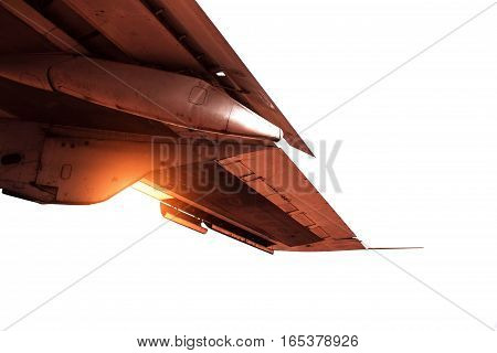 The old wing of plane on a white background.
