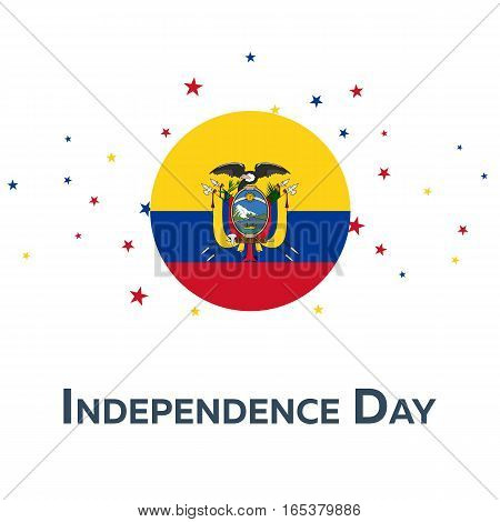 Independence Day Of Ecuador. Patriotic Banner. Vector Illustration.