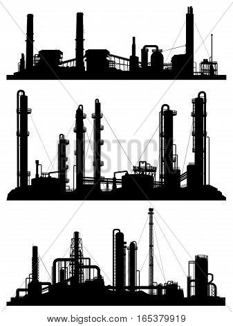 Set of silhouettes of industrial zone (factories refineries and power plants).