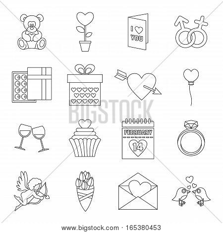 Saint Valentine icons set. Outline illustration of 16 Saint Valentine vector icons for web