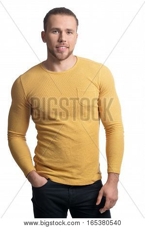 Portrait of confident young man looking at the camera isolated on white background