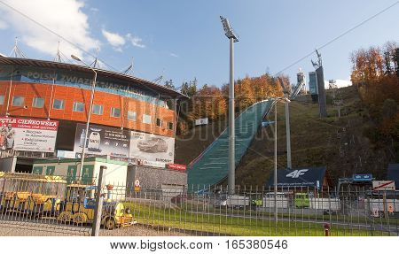 Wisla, Poland - October 22, 2016: Ski Jump On 22 October 2016 In
