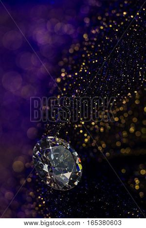 Beautiful big diamond jewelry on dark violet colorful glitter shiny background. Fine natural precious stone.Brillant shine.