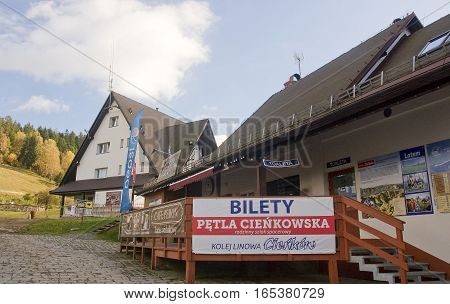 Wisla, Poland - October 22, 2016: Cableway Cienkow On 22 October