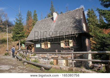 Wisla, Poland - October 23, 2016: Shack Pttk In Przyslopie On 23