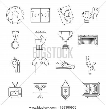 Soccer football icons set. Outline illustration of 16 soccer football vector icons for web
