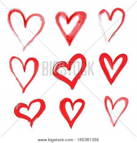 Drawing with a brush in the shape of heart. Set of love symbols on white background, vector illustration. Vector hearts set. Hand drawn.