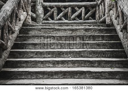 old brown wooden stairs , outdoor, detail constuction