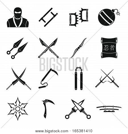 Ninja tools icons set. Simple illustration of 16 Ninja tools vector icons for web