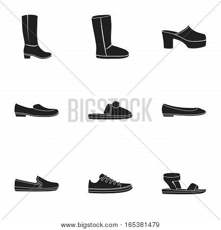 Shoes set icons in black style. Big collection of shoes vector symbol stock