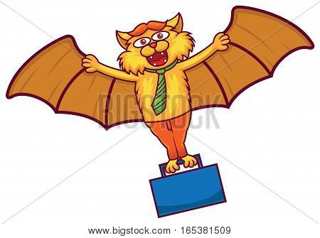 Business Bat Flying with Briefcase Cartoon Illustration Isolated on White