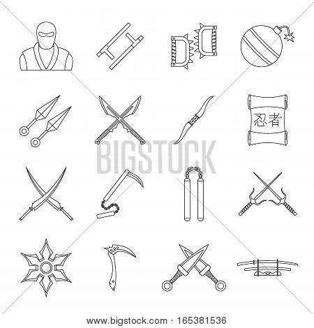 Ninja tools icons set. Outline illustration of 16 Ninja tools vector icons for web