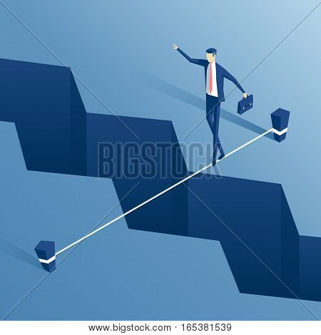 isometric businessman is walking a tightrope across the gap in the earth employee of the tightrope walker is walking a tightrope over the abyss business concept challenge and the risk
