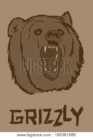 Grizzly vintage image of ferocious bear head