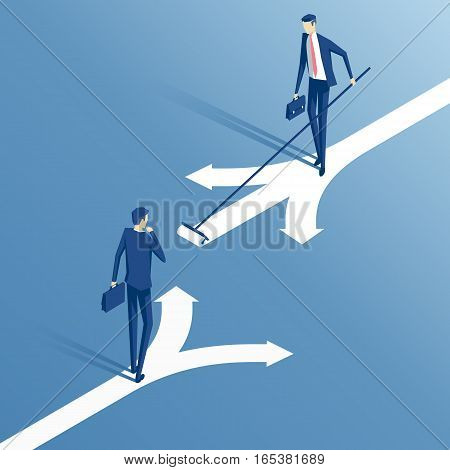 confused businessman standing at a crossroads and chooses the direction and savvy businessman who painted his own way an employee with a roller draws its own direction business concept creative and choice