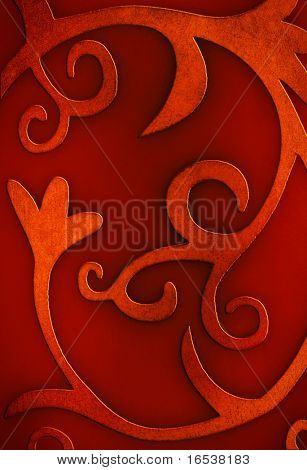 Red Christmas background photo with floral and curly motives