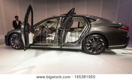 DETROIT MI/USA - JANUARY 12 2017: A 2018 Lexus LS 500 car interior at the North American International Auto Show (NAIAS).