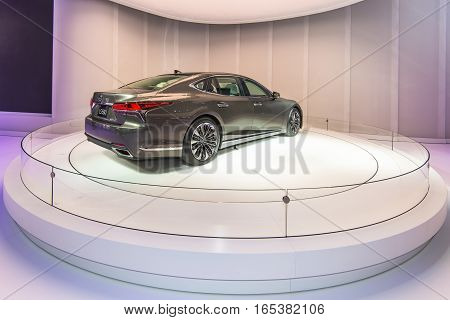 DETROIT MI/USA - JANUARY 12 2017: A 2018 Lexus LS 500 car at the North American International Auto Show (NAIAS).