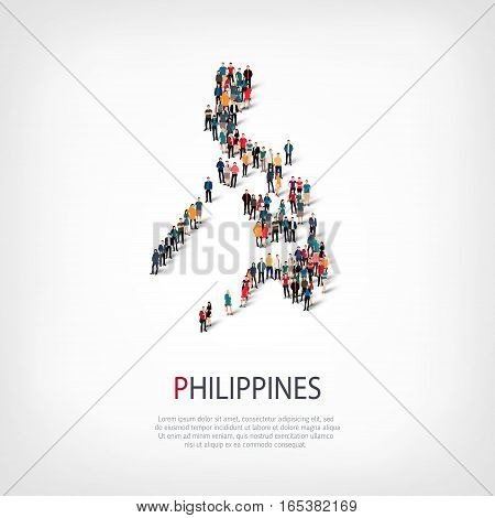 Isometric set of styles, people, map of Philippines, country, web infographics concept of crowded space, flat 3d. Crowd point group forming a predetermined shape. Creative people. Vector illustration. Photo vector.3D illustration. White background . Isola