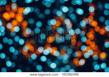 Bokeh light, bokeh light blue and orange background.