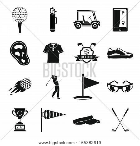 Golf items icons set. Simple illustration of 16 golf items vector icons for web