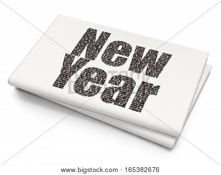 Entertainment, concept: Pixelated black text New Year on Blank Newspaper background, 3D rendering