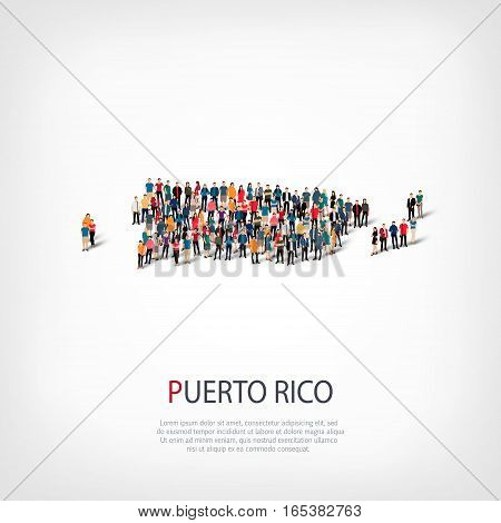 Isometric set of styles, people, map of Puerto Rico, country, web infographics concept of crowded space, flat 3d. Crowd point group forming a predetermined shape. Creative people. Vector illustration. Photo vector.3D illustration. White background . Isola
