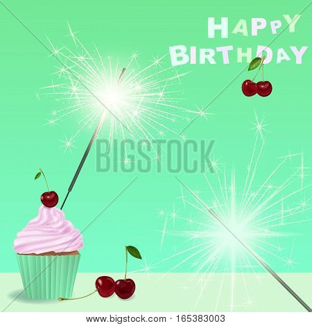 Invitation to the birthday party with a cupcake, sparklers.