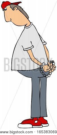 Illustration of a boy wearing a red cap looking down while being handcuffed.