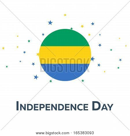 Independence Day Of Gabon. Patriotic Banner. Vector Illustration.
